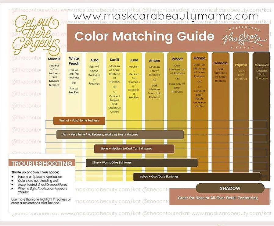 Maskcara Beauty Color Match Guide iiiD Foundation Contour