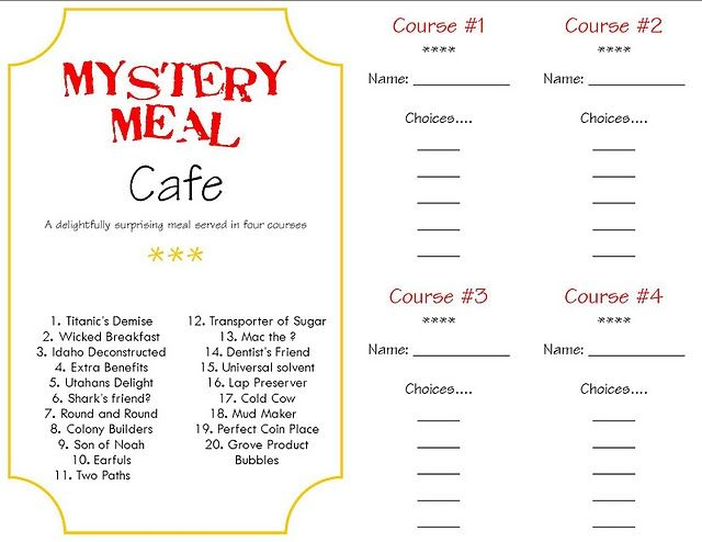 Mystery food menu and answer key fun to do for april fools mystery food menu and answer key fun to do for april fools halloween forumfinder Images