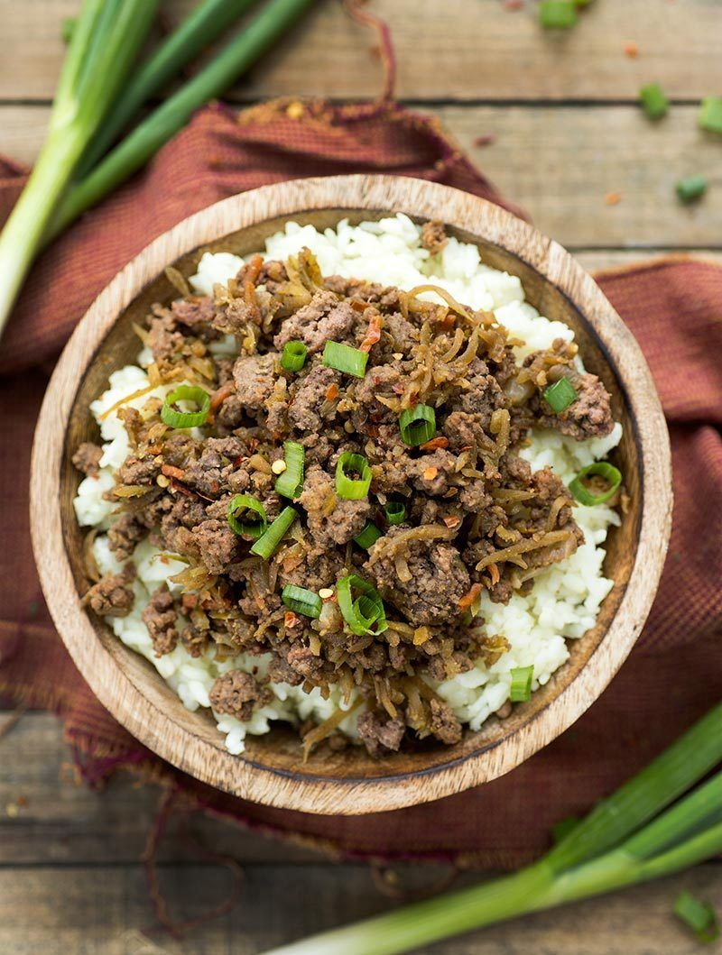 Easy Freezer Korean Bulgogi - ground beef is cooked with ...