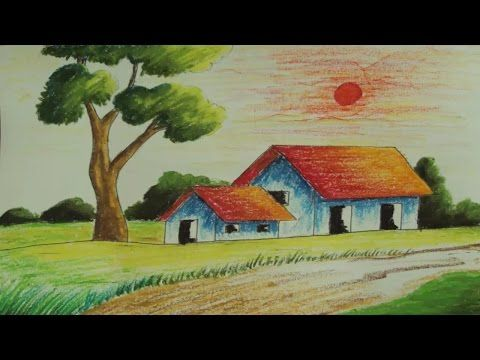 Pastel Painting How To Draw A Simple Landscape Episode 5 Youtube Drawing Scenery Landscape Drawing For Kids Simple Nature Drawing