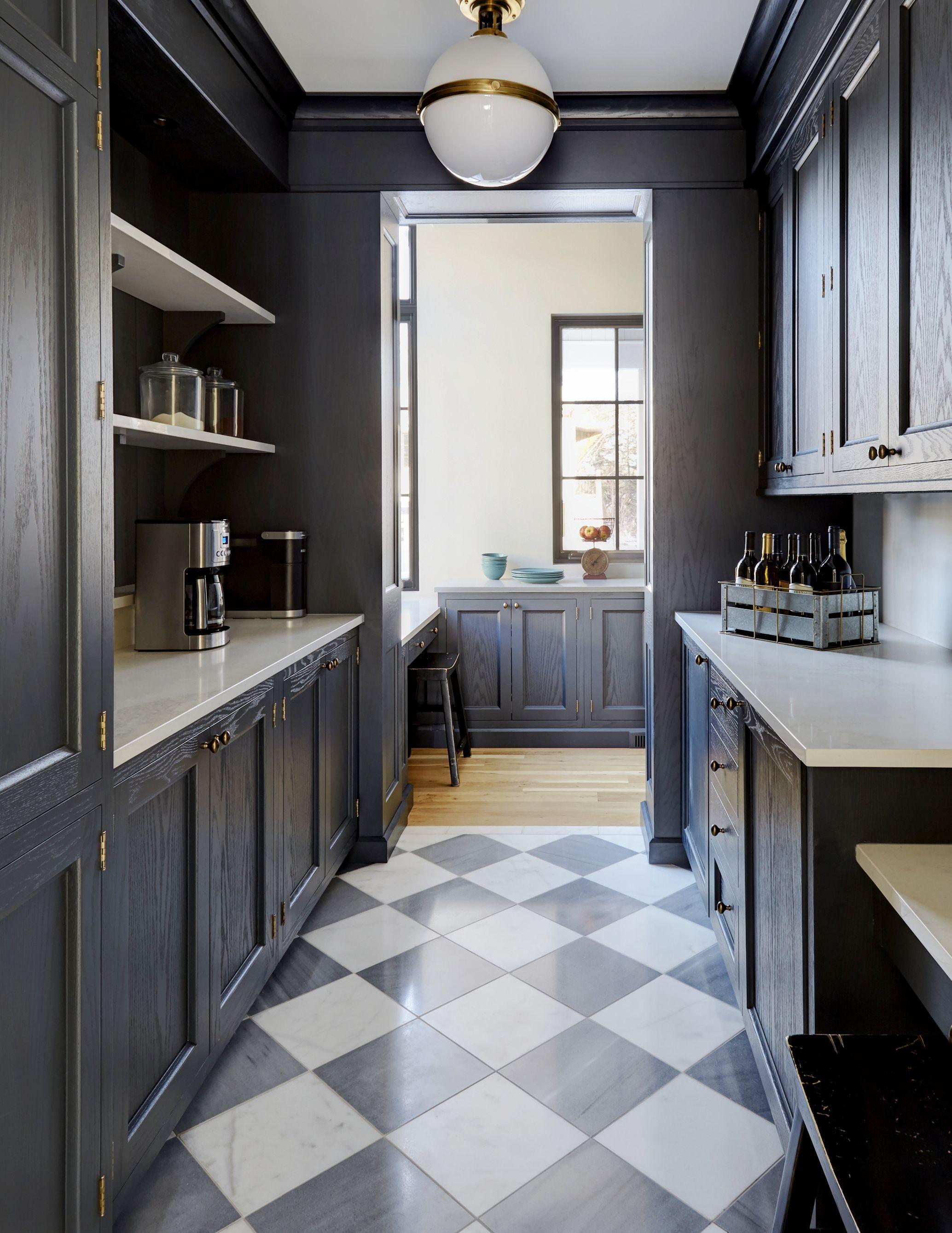Pbkd Pantry In Glen Ellyn Il Painted Black Oak Cabinets Paris