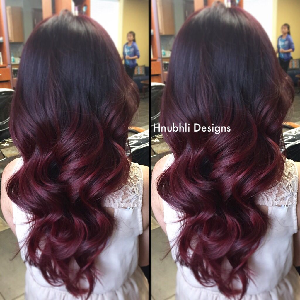 dark red to red violet ombre i did earlier today �� do you