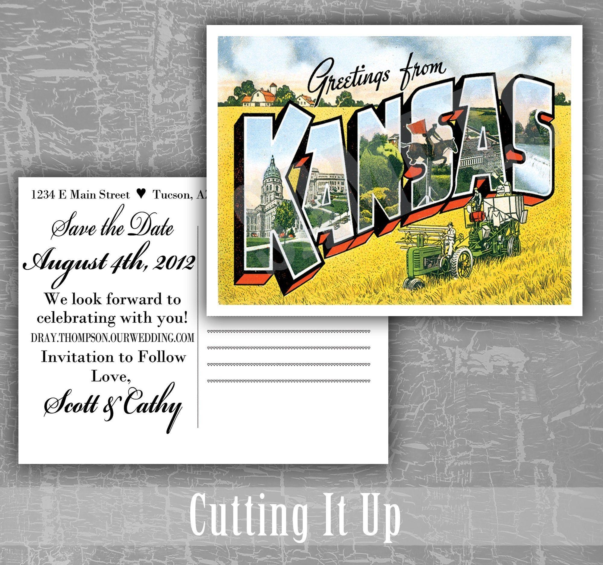 Save the Date Postcard Greetings From Kansas / Custom