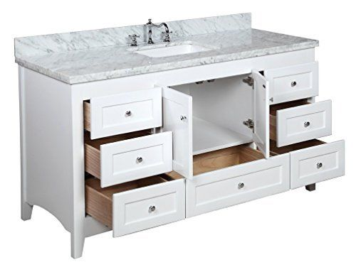 abbey single bathroom vanity includes white shaker style cabinet with soft close drawers u0026 doors italian carrara marble top and