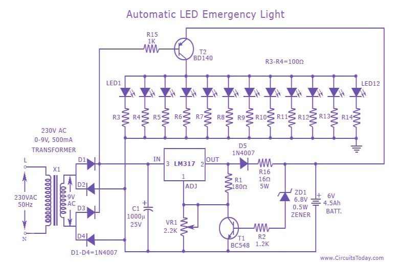 Led Emergency Light Circuit Electronics Pinterest