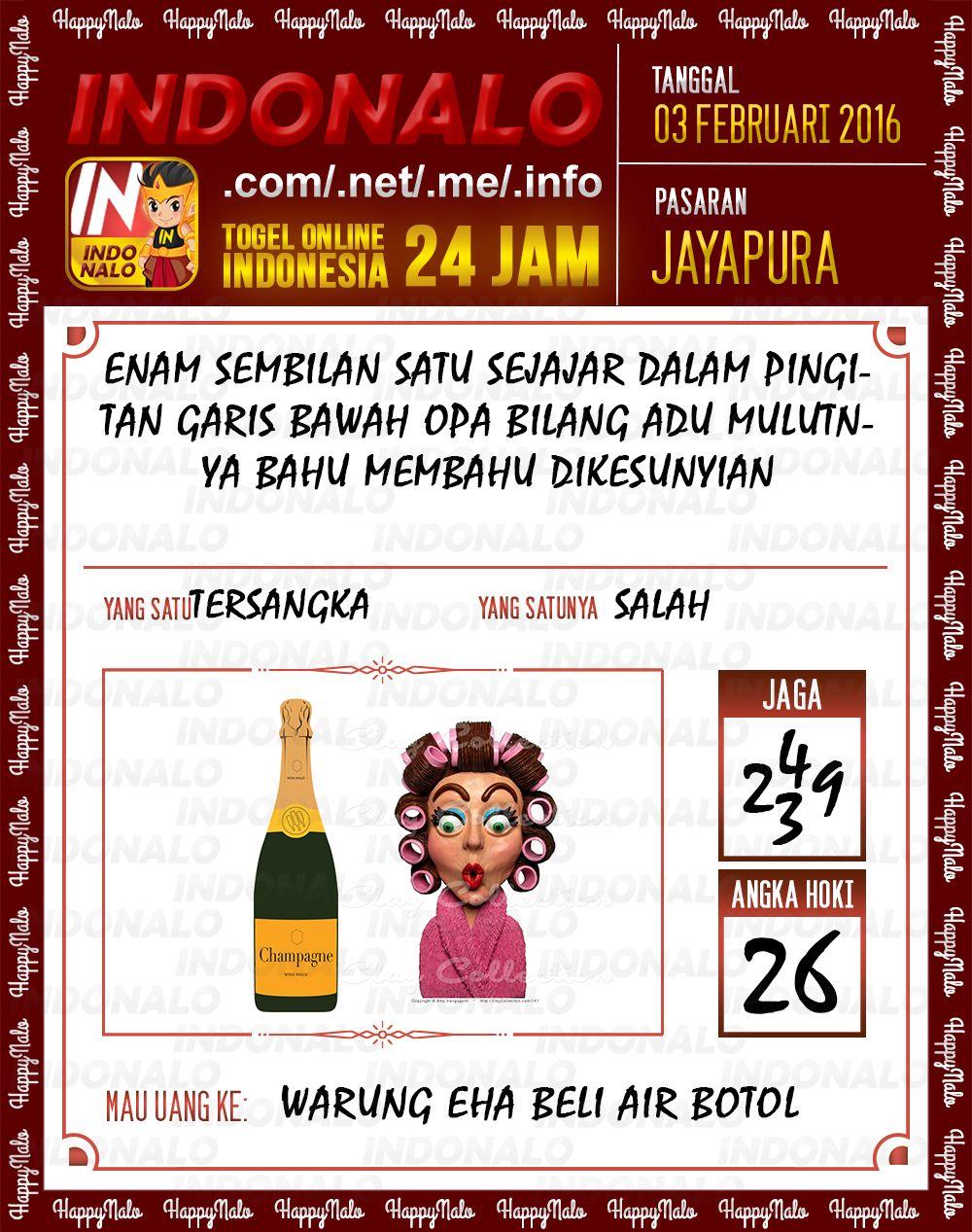 Prediksi Togel Online Indonalo Jayapura 3 Febuari 2016