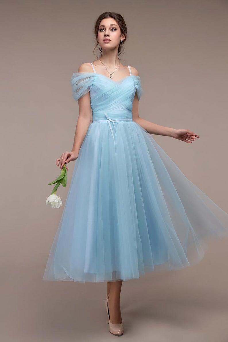 Light Blue Midi Chiffon Dress Wedding Guest Summer Dress Etsy Garden Wedding Dress Guest Wedding Guest Dress Garden Party Dress [ 1192 x 794 Pixel ]