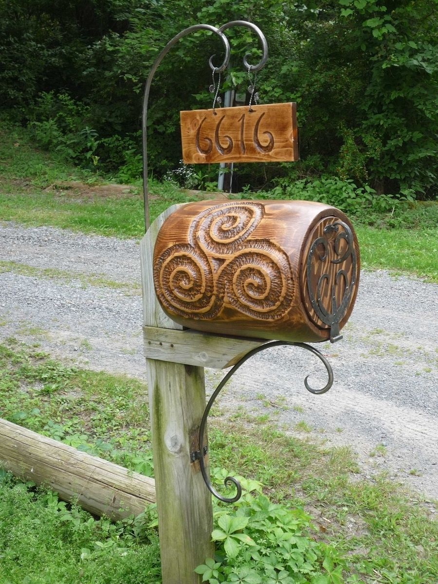 Custom Made Mail Box Hobbit Style Barrel Wood And Forged Iron Hardware Diy Letter Boxes Mailbox Mailbox Decor