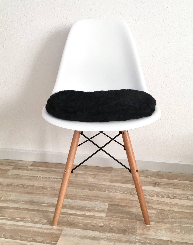 Schwarzes Plüsch Sitzkissen In 6 Cm Oder 3 Cm Höhe Polsterkissen  Handgefertigt Für Eames Chair Mit