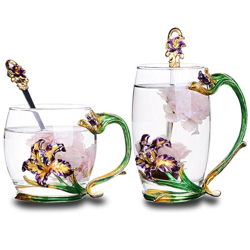Colored enamel glass coffee mugs Europe style cups and mugs flower water glasses