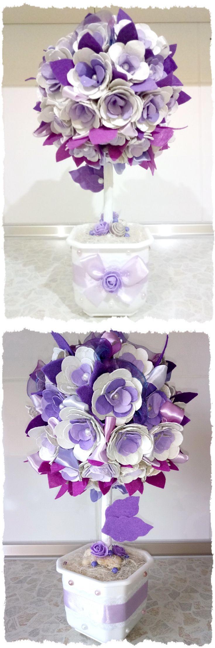 Фиолетово-белый цветочный топиарий с сизалем: мастер-класс, фото, видео