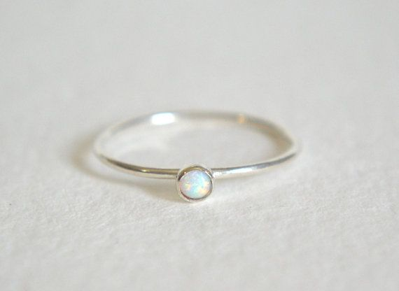 Gold Filled or Sterling Silver 5mm Opal ring. Opal stacking ring