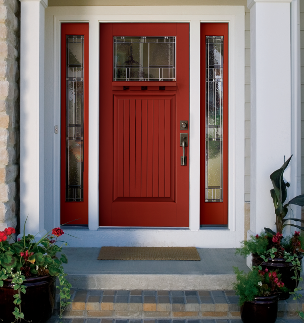 Classic Craft Canvas Collection Fiberglass Door Painted Heartthrob With  Homeward Decorative Glass