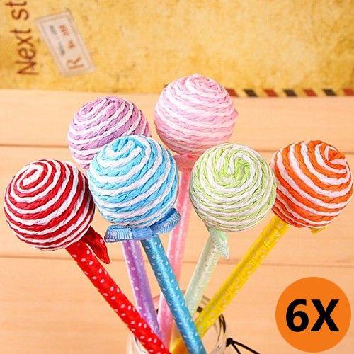 6X Cartoon Lollipop Pen Lovely Ballpoint Pen Ramdon Colour - 2014 Back to School - Creative Stationeries-Campaign Categories - TopBuy.com.au...