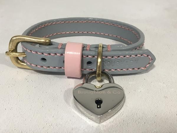 Full Stitched Pastel Grey Leather Dog Collar Leather Dog Collars