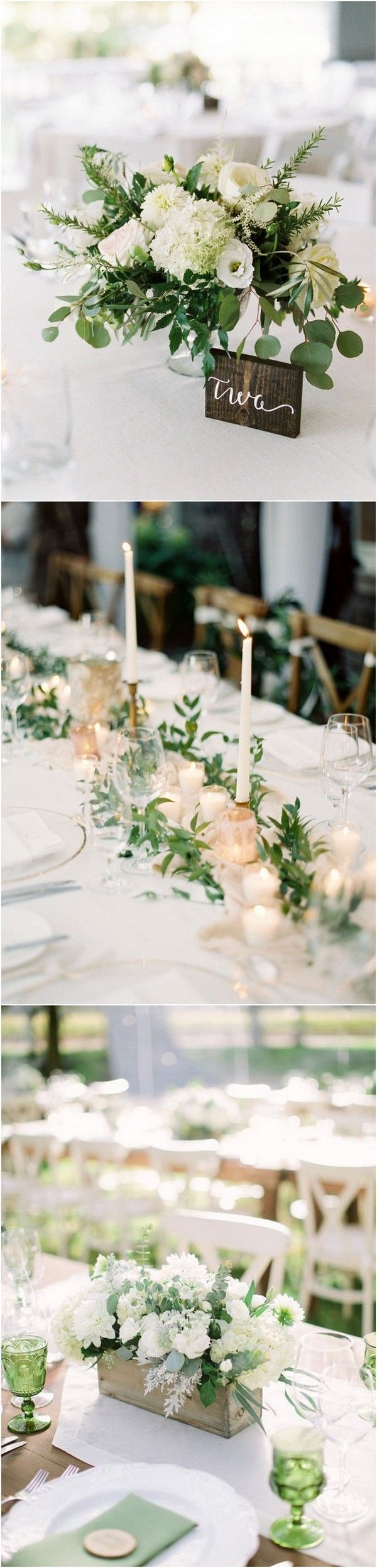 Wedding decoration ideas for tables  Trending Chic White and Green Wedding Centerpiece Ideas  Page