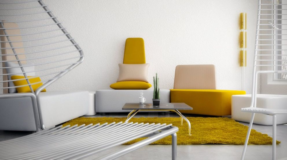 Fancy exciting design yellow lounge listed in exciting living room