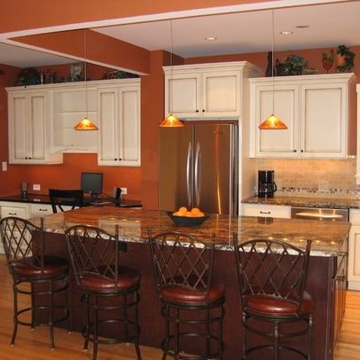 Traditional Kitchen By Steve Bailey Amish Custom Kitchens Pumpkin Orange Paint On Walls White Cabinets