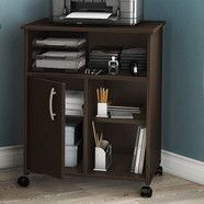 Contemporary Printer Stand Cart With Storage Shelves In Chocolate Printer Stand Home Office Storage Office Furniture Accessories