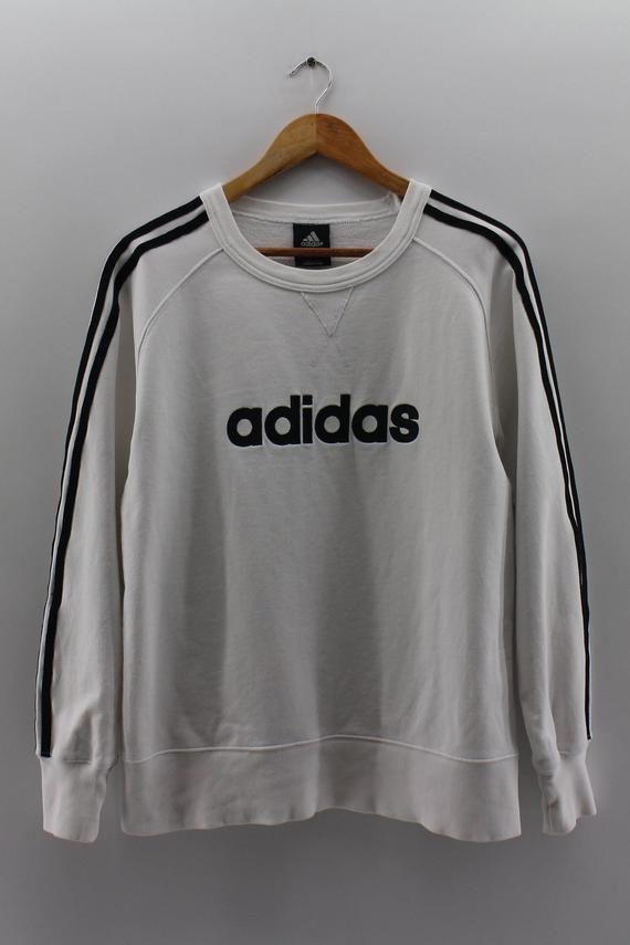 Vintage ADIDAS Three Stripes Pullover Jumper Unisex Medium 90 s Adidas  SpellOut Sweater Adidas White 31857b952