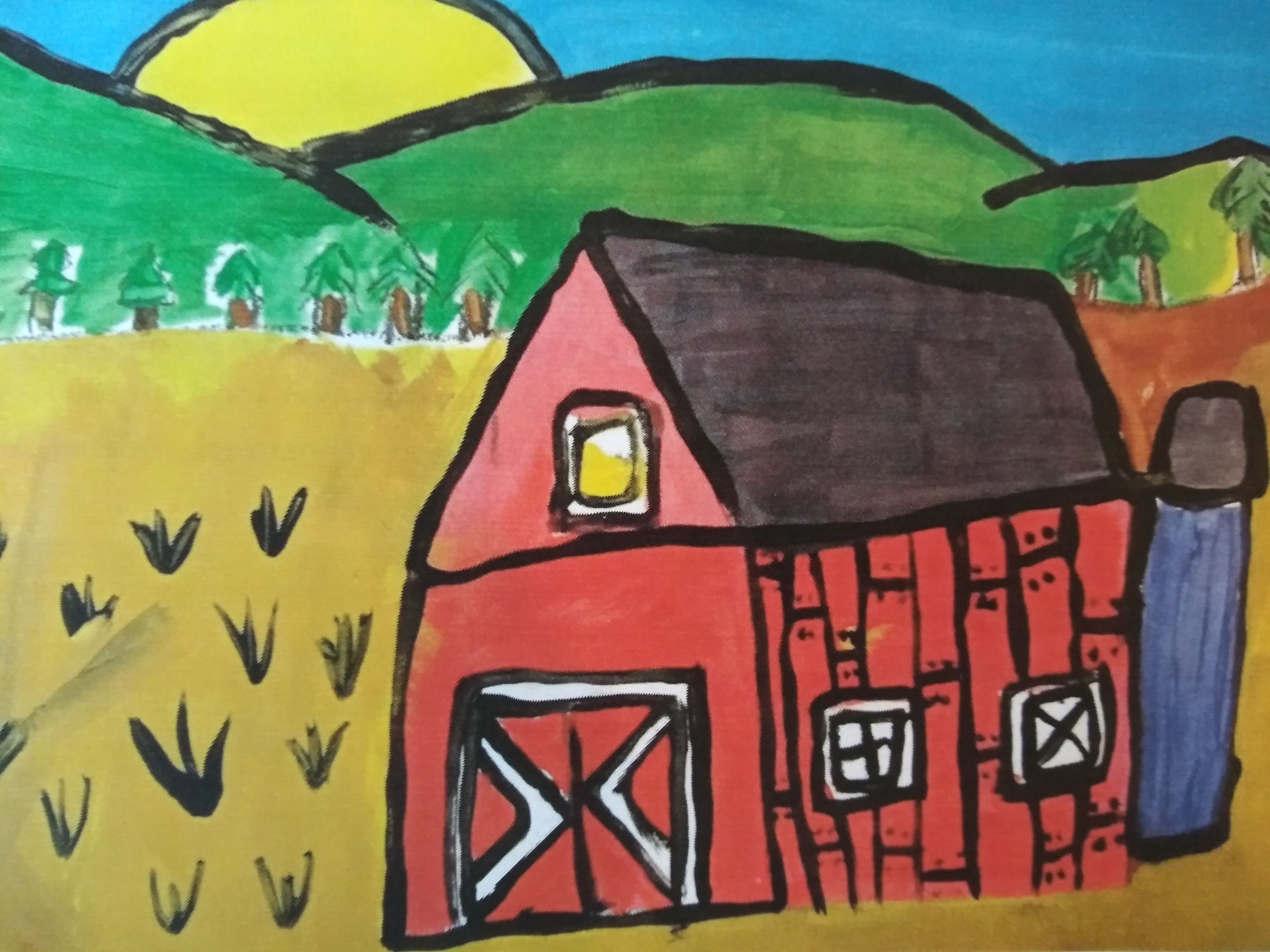 How To Paint A Barn For Kids Fun Art Project With Tempera Paint On Canvas Best For Kids 1st Grade 3rd Grade All L Barn Art Barn Painting Square One Art