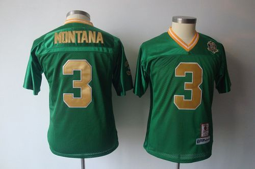 online store c67ec 8651f Dame #3 Joe Montana Green Stitched Youth NCAA Jersey | NCAA ...