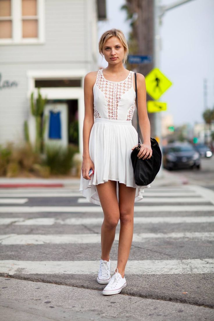 395574c641cb49 I like this concept of a dressy dress with sneakers. I ll be rocking  something like this