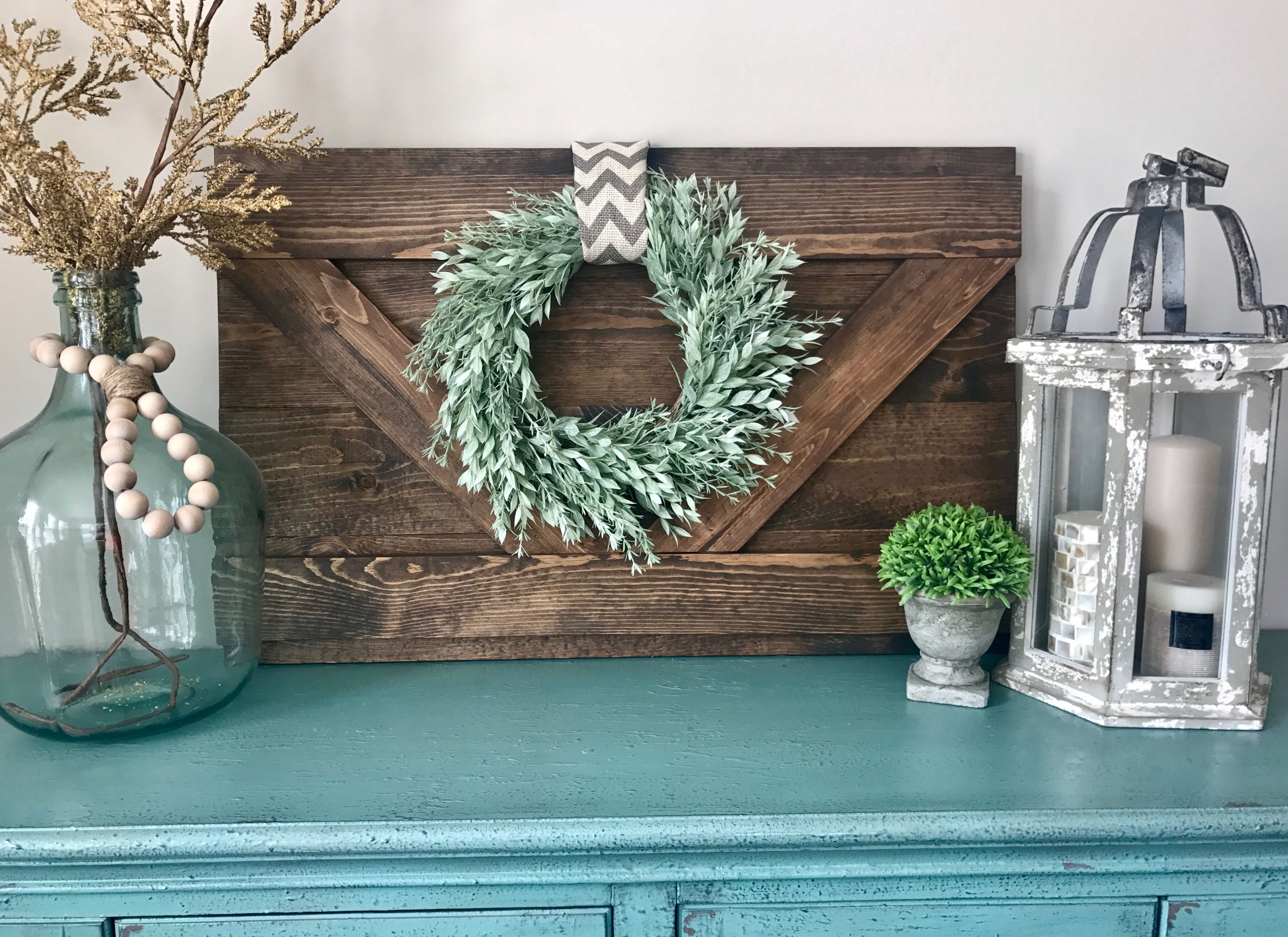 Extra Large Decorative Wood Shutter Rustic Wall Decor Farmhouse Barn Door Style Interior Wreath Holder