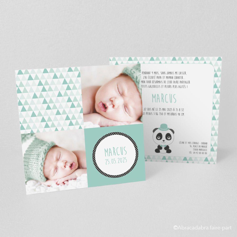 Assez Faire-part de naissance ou de baptême Panda hipster - Modèle  VU72