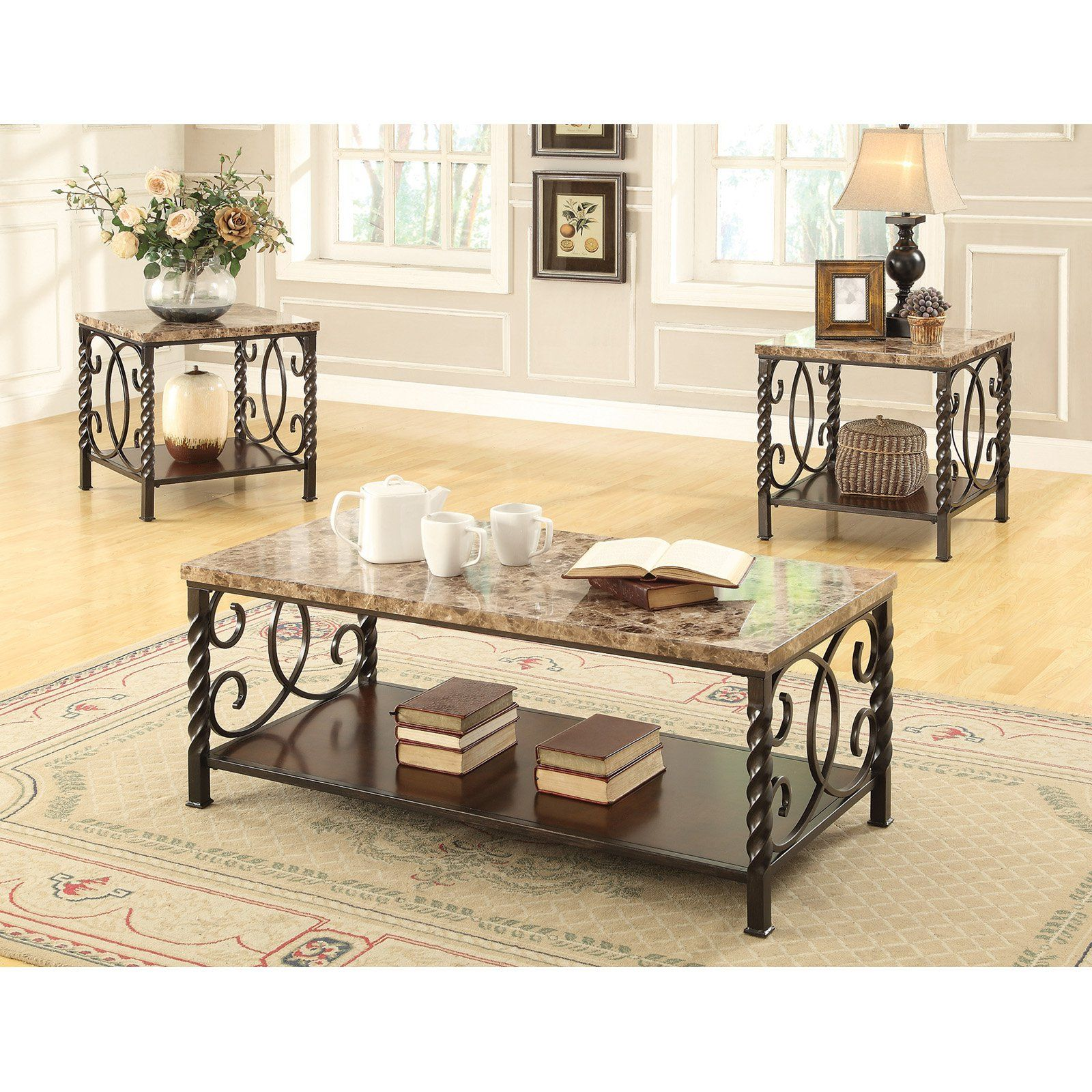Coaster Furniture 3 Piece Marble Top Coffee Table Set Dark Brown