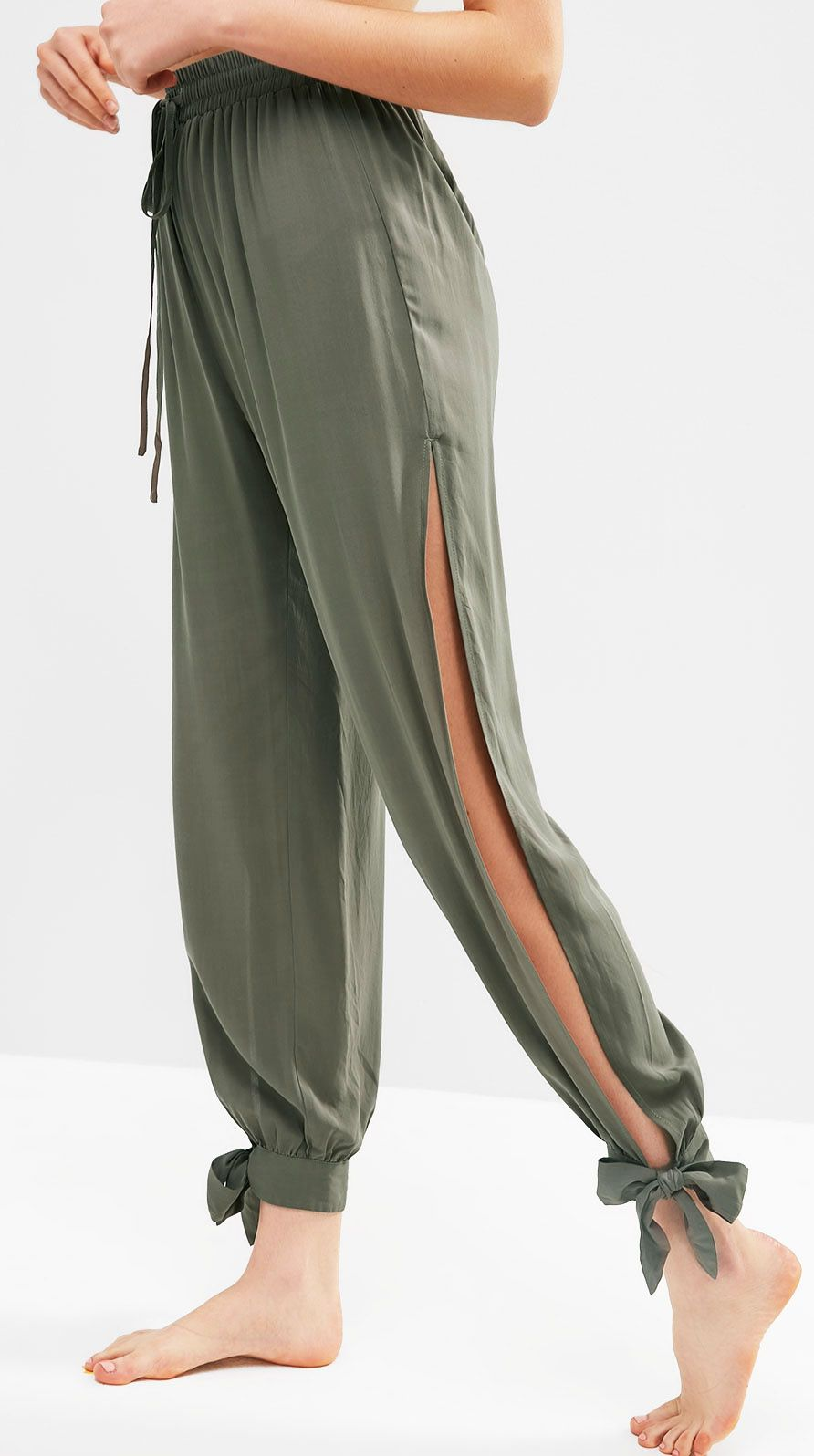 Cute Tie Ankle Split Pants Tea Green Women Summer Pants Cover Up