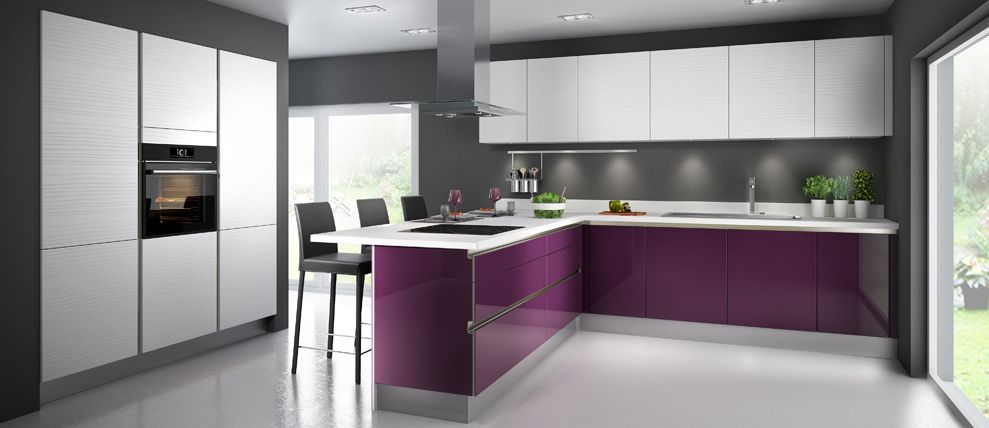 GLOSSY DIAMS - Cuisine couleur violette Deco intérieur Pinterest