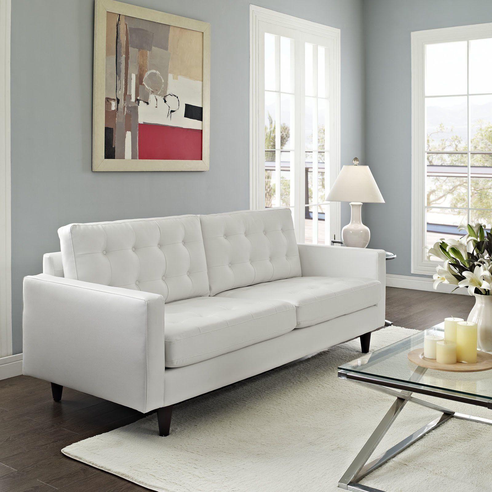 Everett Tufted Leather Settee In 2019: Modern Sofa Deeply Tufted Buttons Bonded Leather Solid