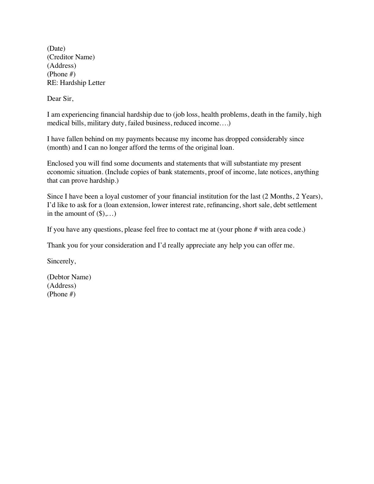 Financial Hardship Letter Template – Financial Hardship Letter