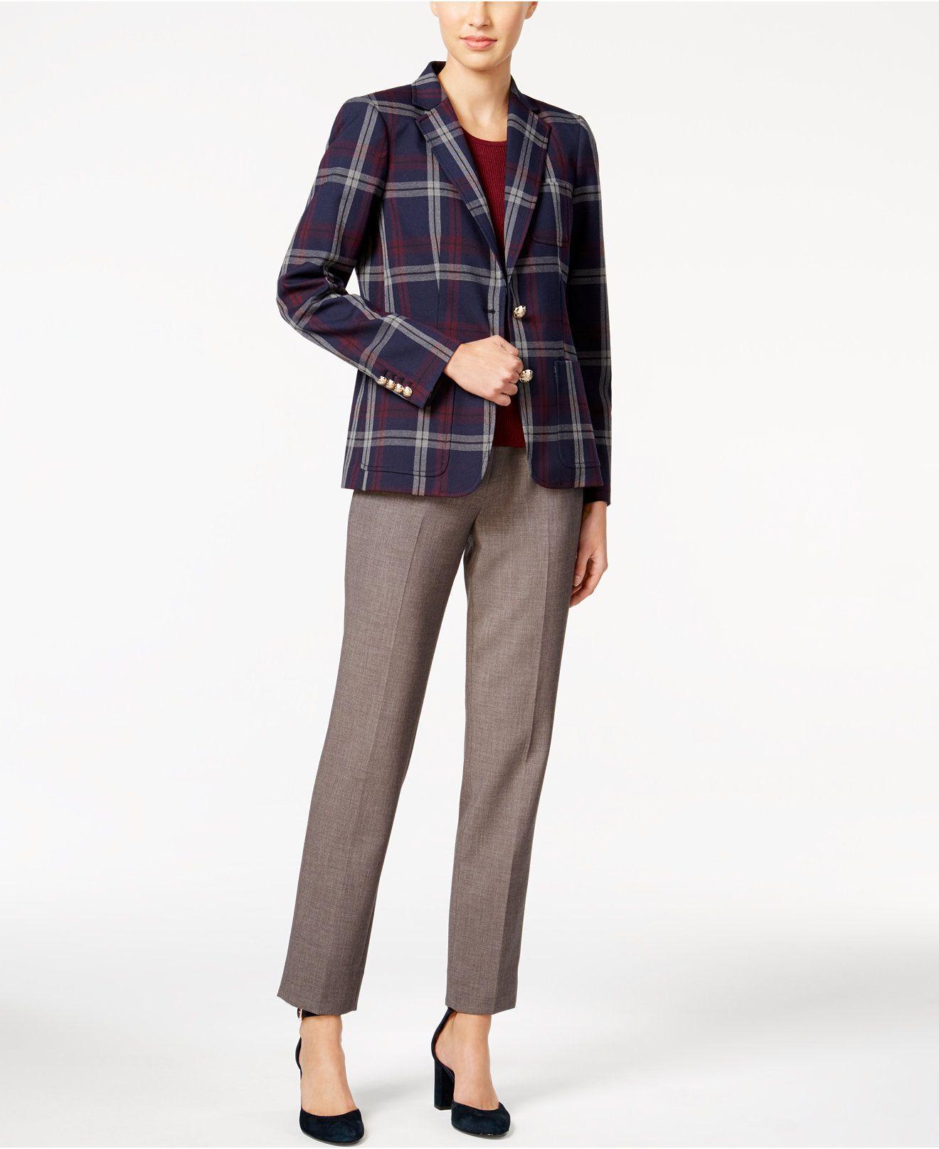 TOMMY HILFIGER Womens Navy Plaid Wear To Work Jacket Size: 4