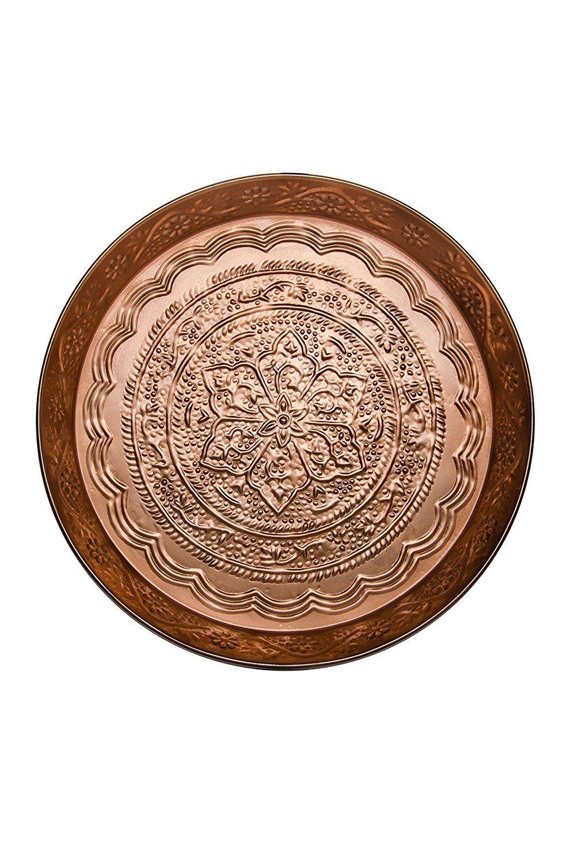 Orientalisches Rundes Tablett Aus Metall Ferda 40cm Gross Kupfer