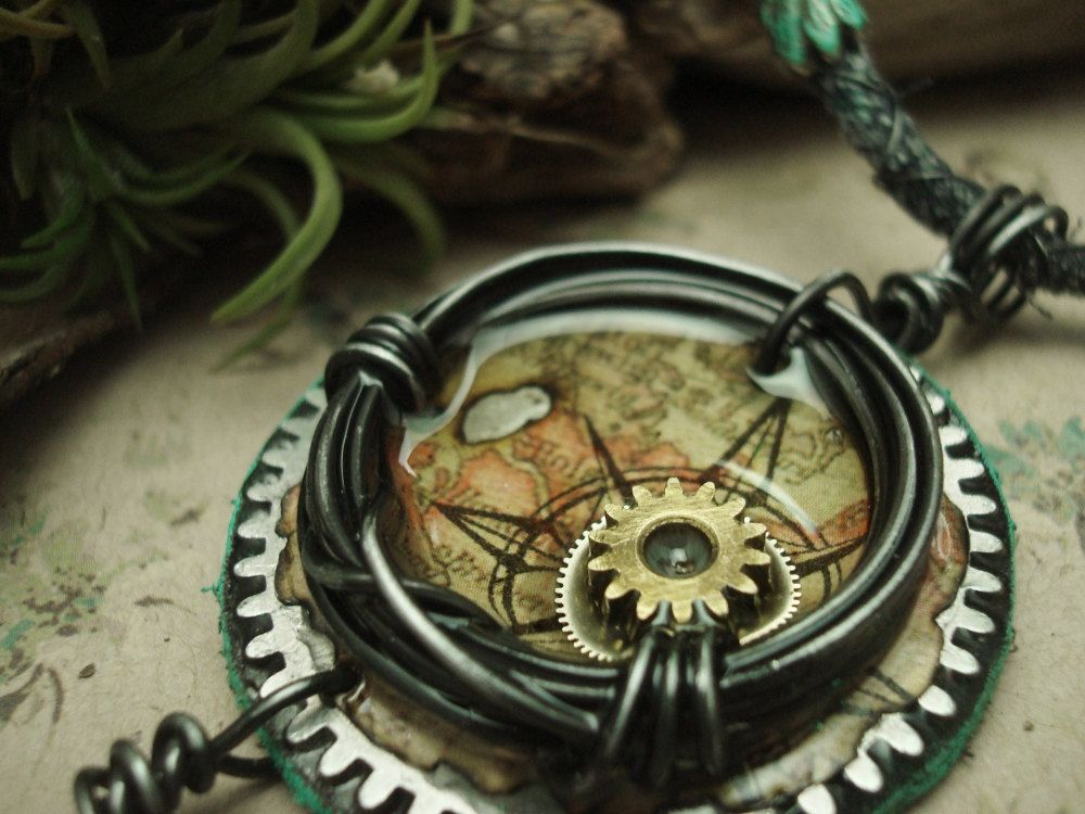 the Time Traveler - Mixed Media Necklace. $102.00, via Etsy.