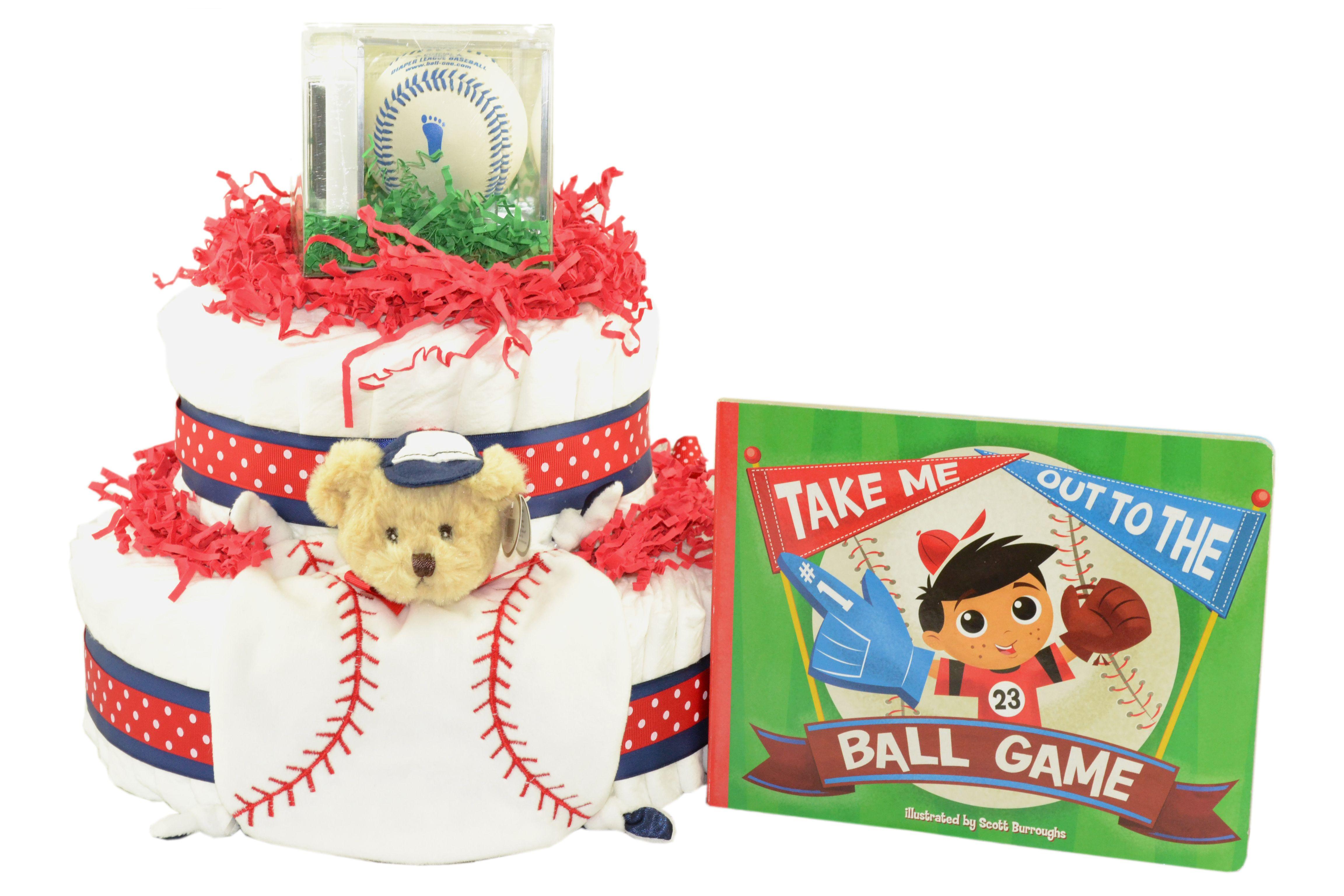 Lil Slugger Baseball Diaper Cake (BOOK INCLUDED)  http://www.nycdiapercakes.com/lil-slugger-baseball-diaper-cake-book-inclucde.html
