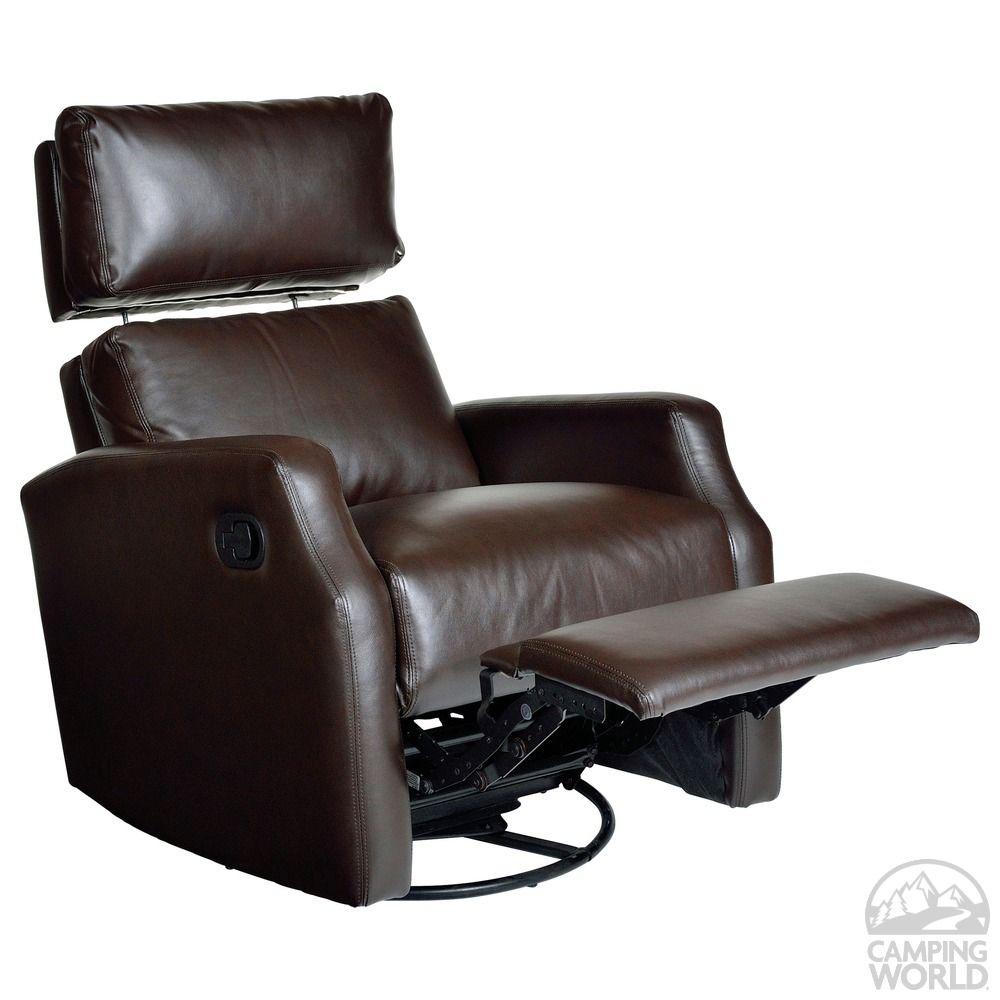Sidney Swivel Rocker/Recliner, Dark Brown - Opulence Home 1290-19DIGMCH -  Indoor