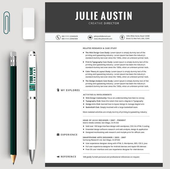 Modern Resume Template,CV Template, + Cover Letter+reference page - 100 resume words