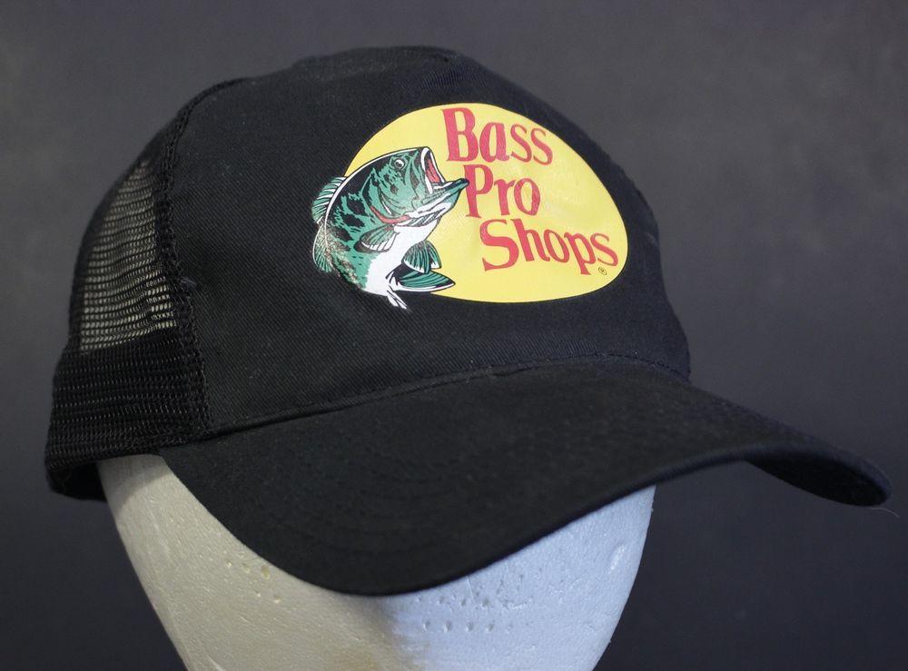 fb46f6508b3f9 Bass Pro Shops Mesh Hat Cap Black Snapback Trucker Fishing Adjustable   BassProShops  Trucker