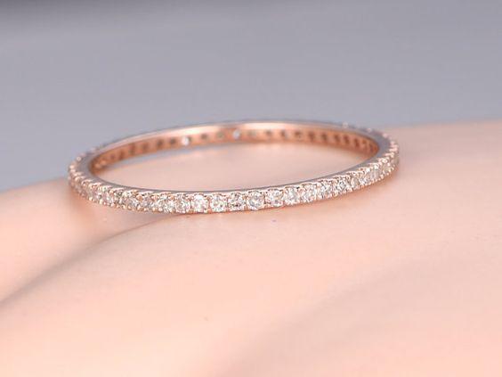 Petite French Micro Pave Diamond Wedding Band Solid 14k Rose GoldFULL Eternity Ringengagement