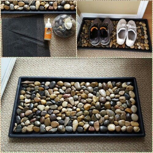 Dollararama craft. Shoe rack makeover - 6 bags of rocks - shelf liner - Gorilla glue - Rubber / Plastic mat to place it into