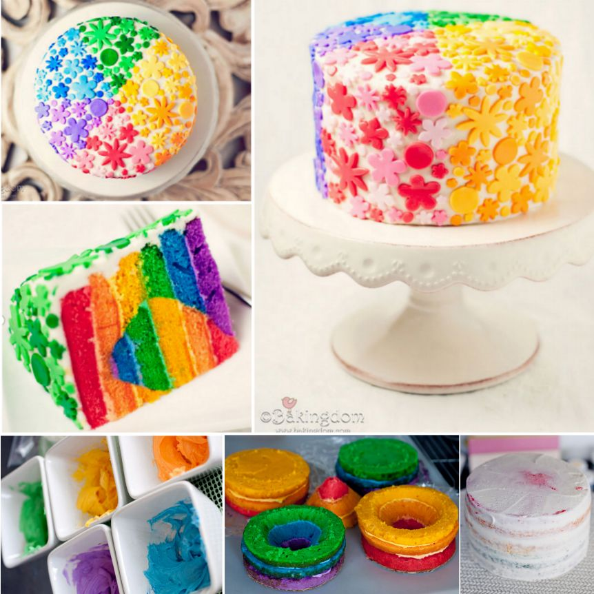 Rainbow Heart Layer Cake