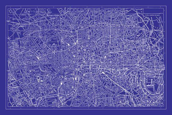 London Map - Street Map Vintage Poster Print Blueprint Dorm and Room - fresh blueprint paper color