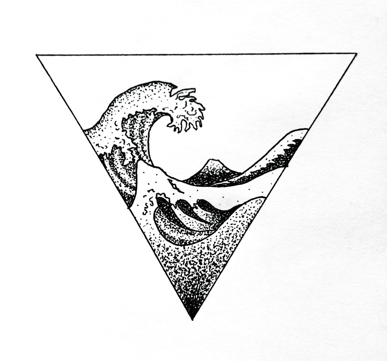 wave hokusai geometric tattoo dotwork art design tattoos