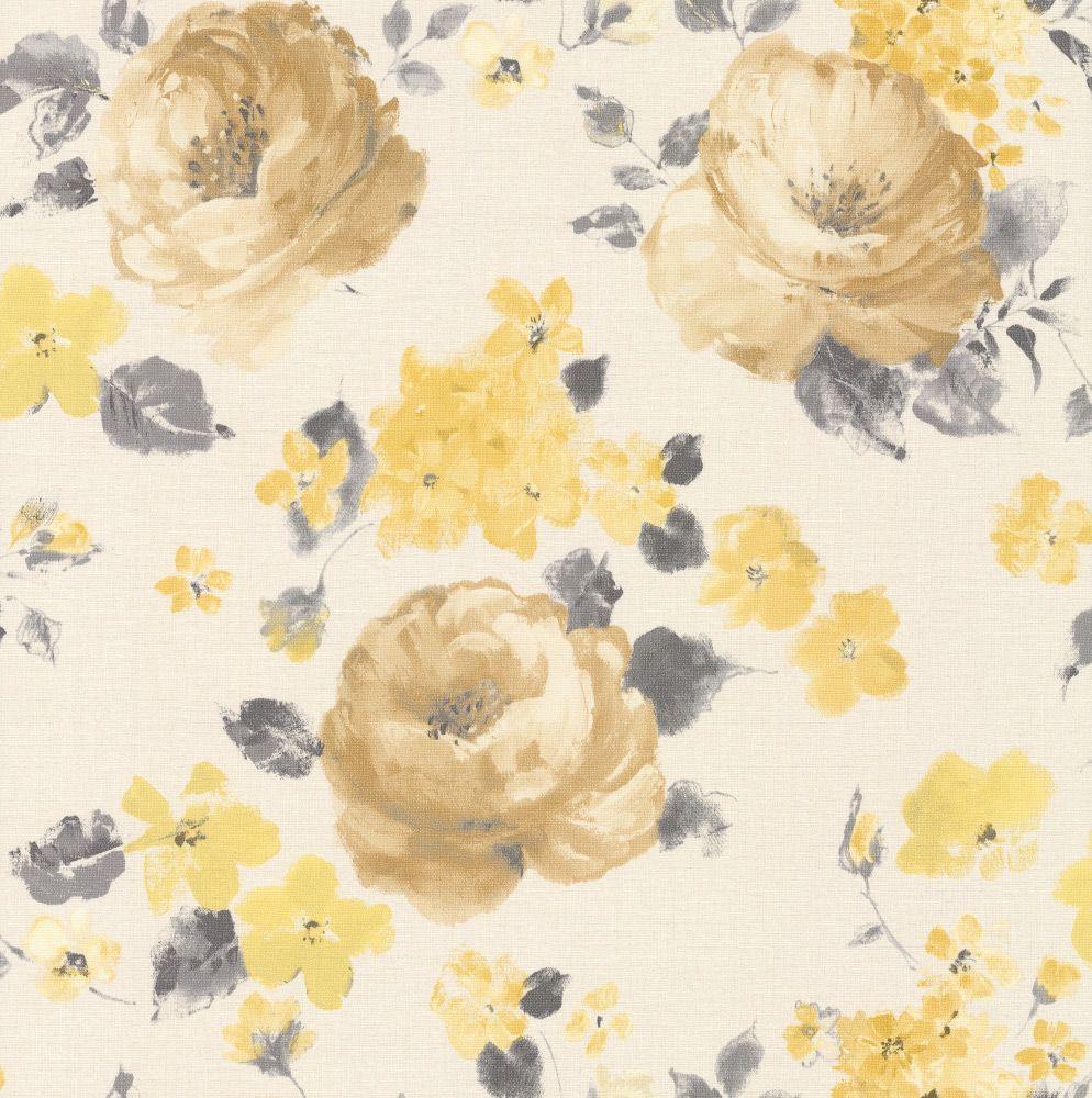 Rose+Floral+Gold+/+Lemon+wallpaper+by+Albany | Olkkarin seinä ...