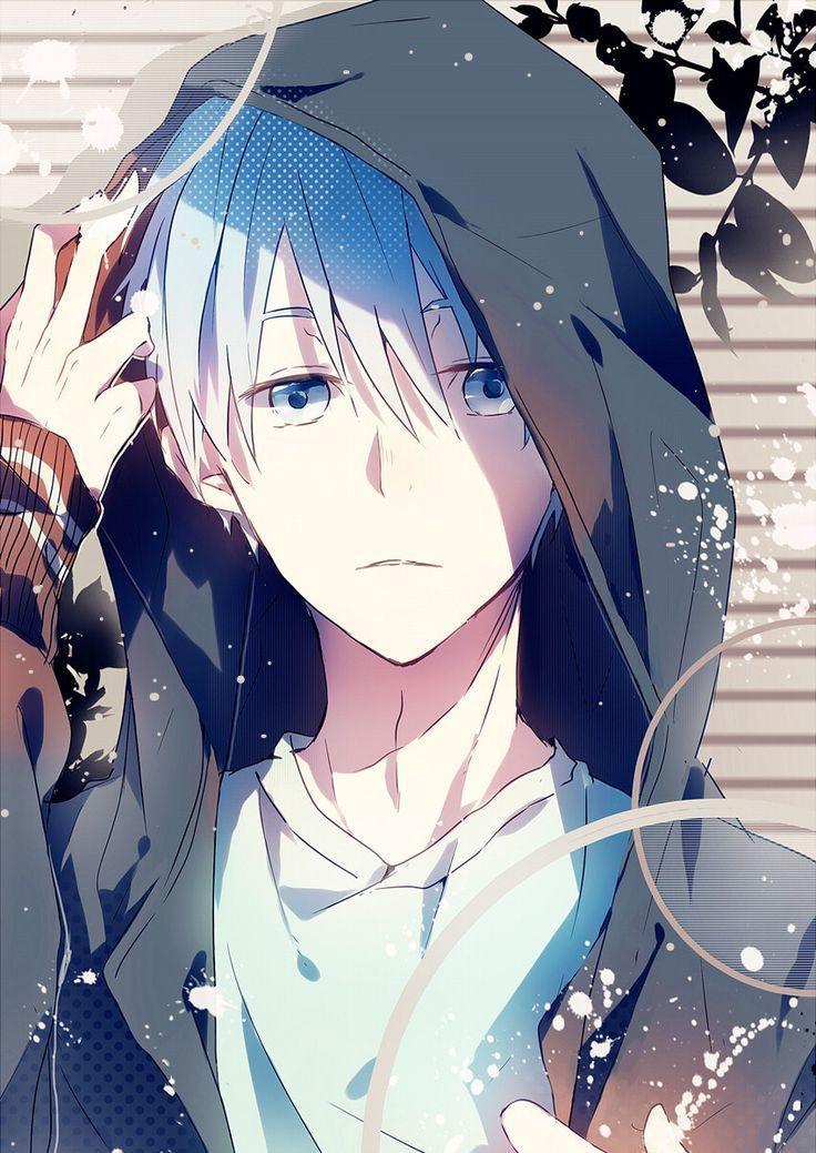 Anime Guy Hoodie White Hair Casual Blue Ey Anime Blue Casual Ey Anime Drawings Boy Anime Anime Guys