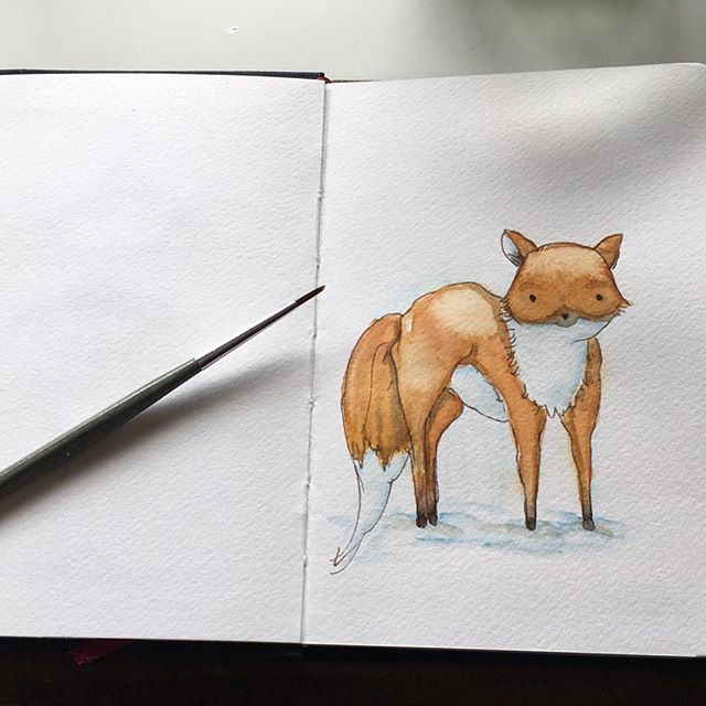 Fox Illustration   Do this small little Illustration in my Hahnemühle watercolor book  Fox#foxpainting#foxillustration#illustration#watercolor#fuchs#fuchsbild#art#artist#art #foxart#painting#sketchbook#