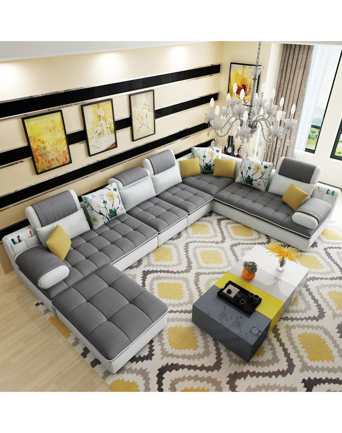 Yalin Furniture Special Shipping Large Size Living Room Straight Six Sets Of Removable Living Room Sofa Design Luxury Sofa Design Furniture Design Living Room